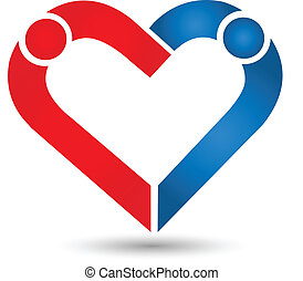 Couple heart love icon logo