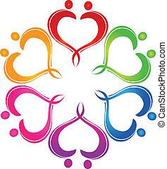 Couple hearts teamwork logo