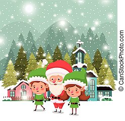 couple helpers with santa claus in snowscape