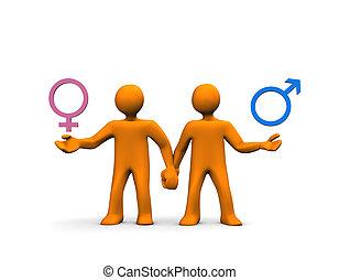 Couple Hetero - A couple of orange cartoons isolated on ...