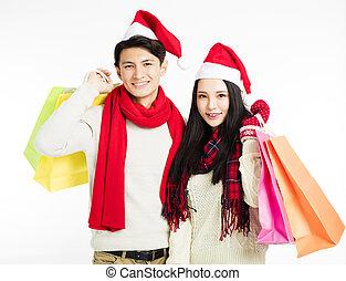 couple, heureux, achats, jeune, noël