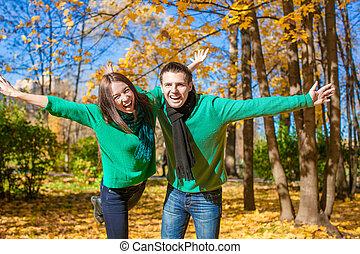 couple heureux, amusant, dans, automne, parc, sur, a, ensoleillé, diminuez jour