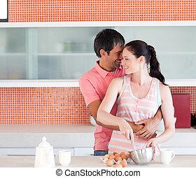 couple heureux, cuisine, ensemble