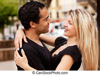 couple, heureux, européen