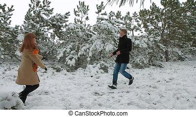 couple, heureux, forêt, hiver
