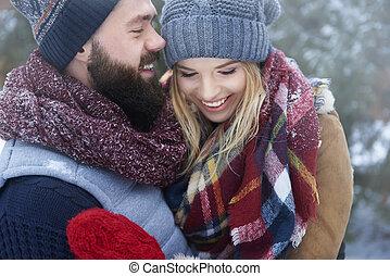 couple, heureux, hiver, jour