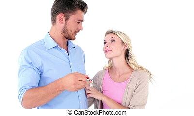 couple heureux, jeune, projection