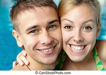 couple, heureux, natation, p, adolescent