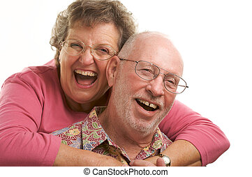 couple heureux, personne agee