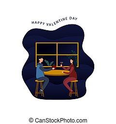 couple, heureux, plat, valentin, conception, vecteur, jour