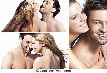 couple heureux, trois, jeune, vues