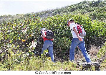 Couple hiking through vineyard