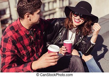 couple, hipster, heureux
