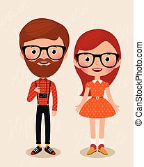 Couple hipsters - Couple of cartoon hipster girl and guy