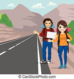 Couple Hitchhiking