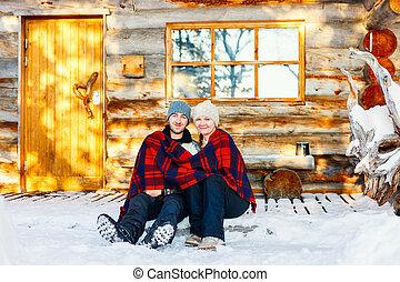 couple, hiver, dehors