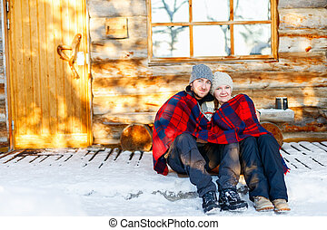 couple, hiver, dehors