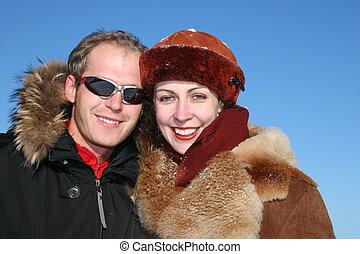 couple, hiver, faces