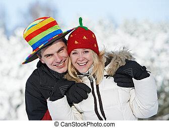 couple, hiver, famille, heureux