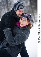 couple, hiver, heureux