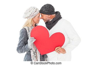couple, hiver, poser, forme, mode, sourire, coeur