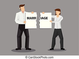 Couple Holding Broken Marriage Sign Cartoon Vector Illustration