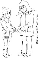 Couple holding hands. Black and white coloring