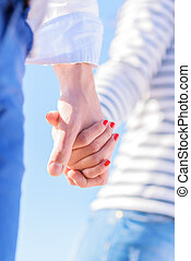 Couple Holding Hands - Close-up Of Couple Holding Hand,...