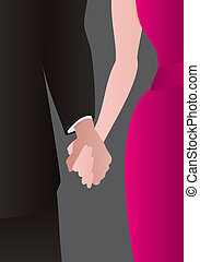 Couple holding hands - Detail of a well dressed heterosexual...