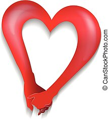 Couple holding hands heart love shape logo