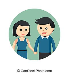 couple holding hands in circle background