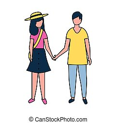 couple holding hands on white background