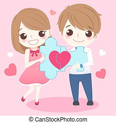 couple holding red love puzzle