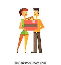 Couple Holding The Box Together