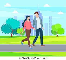 Couple Holds Hands Walking Outdoors, Cartoon Style
