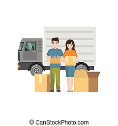 Couple holds packed personal belongings in boxes for moving.