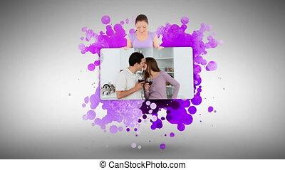 couple, hom, projection, femme, jeune