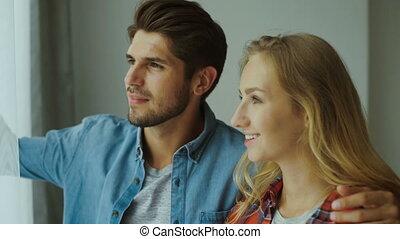 couple, home., jeune, délassant