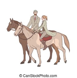 Couple horseback riding. Lovers guy and girl on horses in tweed suit. Hand drawn colorful vector illustration.