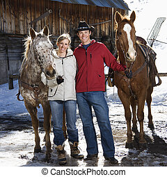 couple, horses., tenue