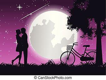 couple hug together and kiss near bicycle and big tree, concept art
