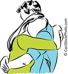 couple hugging each other illustration
