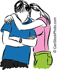 couple hugging illustration