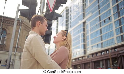 couple hugging on the street. life style.