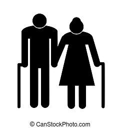 couple, icône, personnes agées, symbole