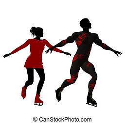 Couple Ice Skating Silhouette - Couple ice skating...
