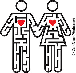 Maze shaped as heterosexual couple pictogram symbolizing searching for love. Vector illustration.