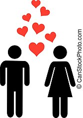Couple icon in love with hearts