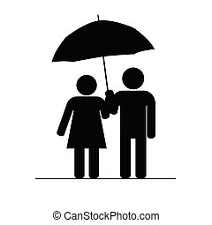 couple icon with umbrella vector