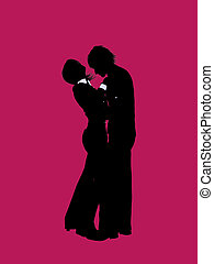 Couple Illustration Silhouette - A couple silhouette...